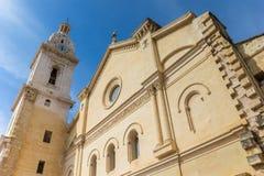 Facade of the Basilica de Santa Maria in historic Xativa Stock Photos