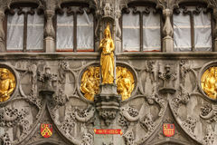 Facade. Basilica of the Holy Blood. Bruges. Belgium. Detail of the facade. Basilica of the Holy Blood in Burg square. Bruges. Belgium Stock Image