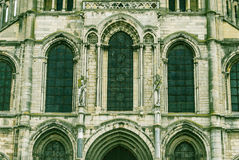 Facade of the Basilica of Saint-Remi, Reims, France Stock Image