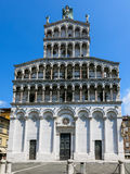 Facade of Basilica San Michele in Foro in Lucca Stock Photos