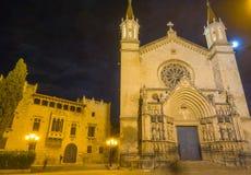 Facade Basilica of Santa Maria of Vilafranca night Stock Photography