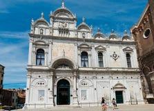 Facade of the Basilica Scuola Grande di San Marco - Venice, Ital Royalty Free Stock Photos