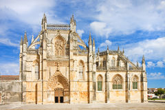 The facade of Batalha cathedral in Portugal Stock Photos