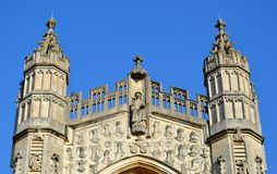 Facade from Bath cathedral. And blue sky Stock Image