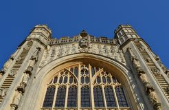 Facade from Bath cathedral. And blue sky Stock Photos