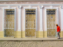 Facade with beautiful forged lattices. Royalty Free Stock Image