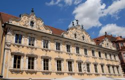 Facade of a beautiful palace in Wurzburg in Bavaria (Germany) Royalty Free Stock Images