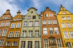 Facade of beautiful typical colorful buildings, Gdansk, Poland royalty free stock images