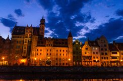 Facade of beautiful typical colorful buildings, Gdansk, Poland stock photos