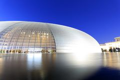 Facade of beijing national theater night sight, adobe rgb stock photos