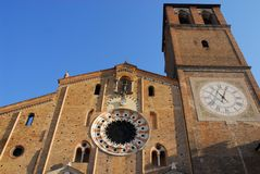 Facade and bell tower of the Cathedral Basilica of the Virgin assumed into the city center in Lodi in Lombardy (Italy) Stock Image