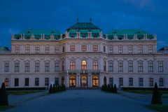 Facade of the Belvedere Palace in the April twilight. Vienna. Austria royalty free stock photography
