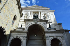 Facade of Bergamo Cathedral dedicated to Saint Alexander of Bergamo low angle, Bergamo, Italy Royalty Free Stock Photo