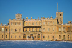 The facade of the Big Gatchina Palace in the rays of the setting sun on a january evening. Gatchina, Russia Stock Photography