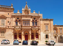 The facade of Bishop's Palace on the Pjazza San Pawl in Mdina. Stock Image