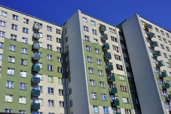 Facade of the block in Poland. Multifamily housing Royalty Free Stock Photo