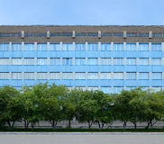 Facade of the blue building and a row of trees in front of him. Background. Stock Photography
