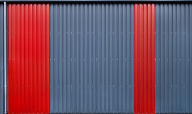 Facade of blue and red metal profile Royalty Free Stock Photography