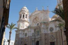 Church Of San Juan De Dios Cadiz Andalucia, Spain. Facade And Blue Sky Church Of San Juan De Dios Cadiz Andalucia, Spain Stock Photo