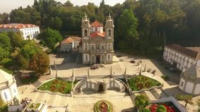 Facade of Bom Jesus do Monte, Braga, Portugal aerial view stock footage