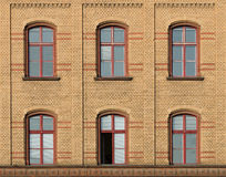 Facade of brick. With six windows Royalty Free Stock Image