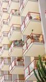 Facade of a building with balconies Stock Photos