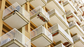 Facade of a building with balconies shabby Royalty Free Stock Image