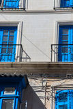 Facade of building with balconys somewhere in Malta Stock Image