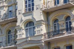 Facade of the building is in classical style Royalty Free Stock Photo