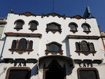 facade of building colonial style on main street in the city of Toluca, Mexico royalty free stock image