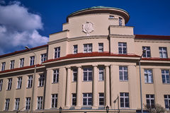 Facade building with the emblem of the city Stock Images