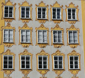 Facade of building in the historic centre of Salzburg. Royalty Free Stock Photos