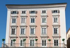 Facade of building in the historic centre of Salzburg. stock photography