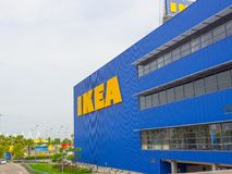 The facade building of Ikea sells ready-to-assemble furniture, kitchen appliances and home accessories. stock photo