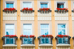 Facade of a building in Karlovy Vary. Colorful hotels and traditional buildings on sunny town of Karlovy Vary. The most visited spa town in the Czech Republic Stock Photos