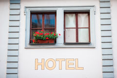 Facade of a building in Karlovy Vary. Colorful hotels and traditional buildings on sunny town of Karlovy Vary. The most visited spa town in the Czech Republic Royalty Free Stock Image