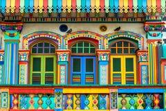 Facade of the building in Little India, Singapore Stock Photos