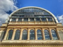 The facade of the building of Lyon opera house, Lyon old town, France. View of the front of facade of the lyon opera house. The building of the mixed style Stock Photos