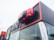 The facade building of Mini Cooper car showroom, is a small economy car produced by the English-based British Motor Corporation. royalty free stock photography
