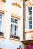 Facade of a building in old city in Europe. Facade of a building in Karlovy Vary Royalty Free Stock Photo
