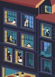 Facade of building with opened windows and people living inside. Men and women eating, smoking, reading, talking in vector illustration