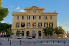 Facade of the building of the port authority of Malaga. In eclectic classicist style by architect Manuel Acena Gonzalez Royalty Free Stock Image