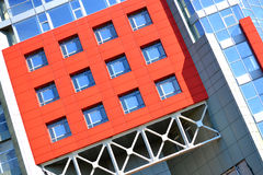 facade of the building red in the high-tech style stock photography