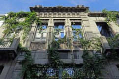 Facade building in ruins. August 1 - 2015 - Abandoned building in ancient downtown in santos, brazil royalty free stock photo