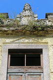 Facade building in ruins. August 1 - 2015 - Abandoned building in ancient downtown in santos, brazil stock photo