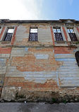 Facade building in ruins. August 1 - 2015 - Abandoned building in ancient downtown in santos, brazil royalty free stock image
