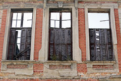 Facade building in ruins. August 1 - 2015 - Abandoned building in ancient downtown in santos, brazil stock image