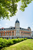 The facade of building on the Square of Spain (Plaza de Espana) Stock Images