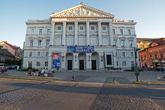 Facade from building theatre Ioan Slavici in Arad, Romania. ARAD, ROMANIA - AUGUST 26, 2016: Facade from building theatre Ioan Slavici in Arad, Romania. Days of Royalty Free Stock Photos