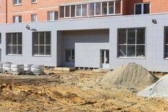 Facade of the building under construction Stock Photo